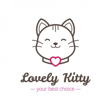 Vector cute linear cat head logo