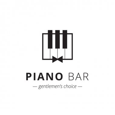 Vector minimalistic piano logo. Music sign