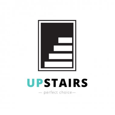 Vector negative space stairs logo. Brand sign
