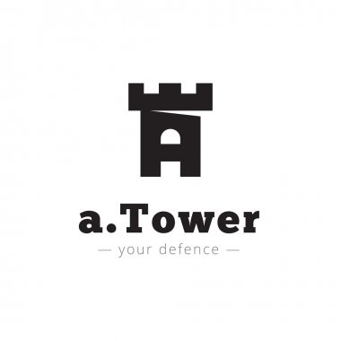 Vector minimalistic negative space A letter logo. Tower sign