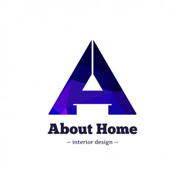 Vector trendy polygonal minimalistic negative space interior design logo. A letter home goods logotype.
