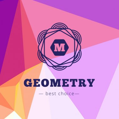Vector geometric flower style monogram logo on low poly background