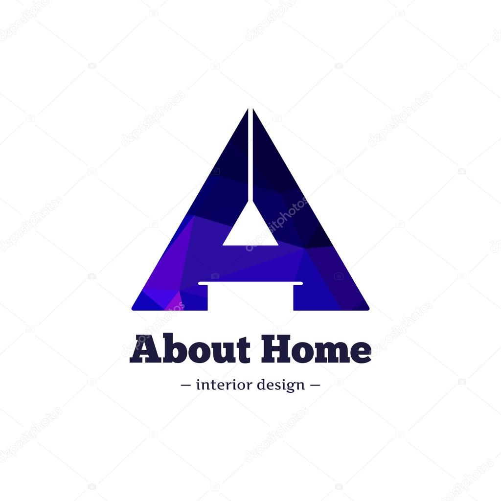 Vector Trendy Polygonal Minimalistic Negative Space Interior Design Logo A Letter Home Goods Logotype
