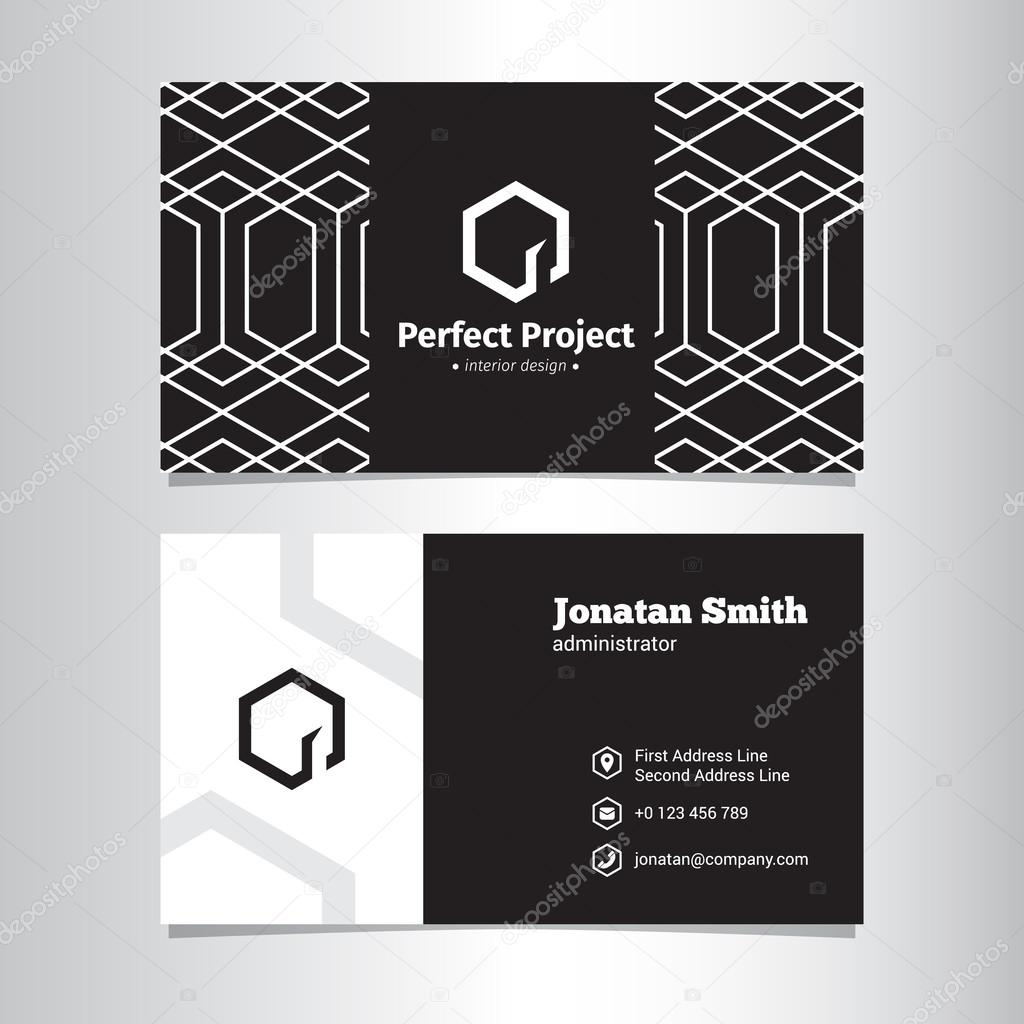 Vector elegant geometric black and white business card template with negative space logo