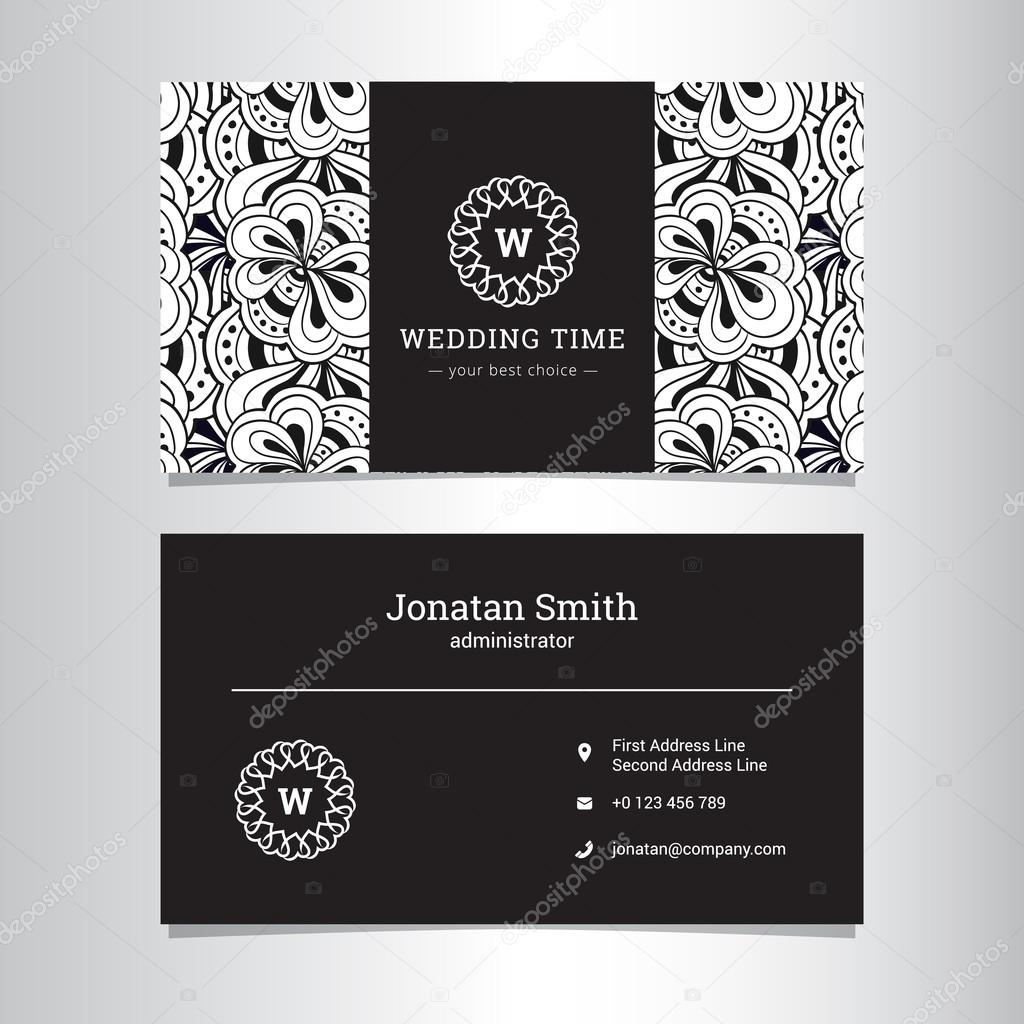 Vector elegant wedding agency business card template with flowers ...