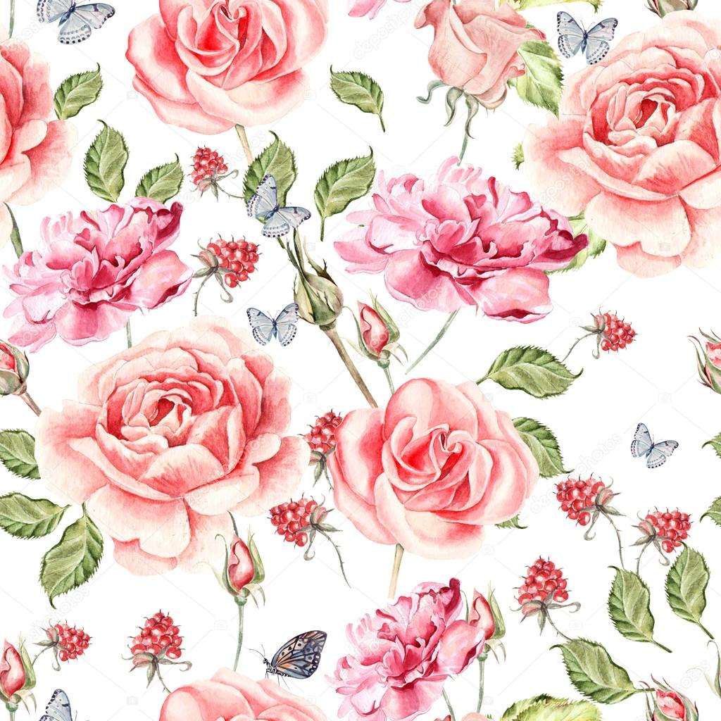 Seamless watercolor pattern with roses, anemones and peony. Raspberry and leaves.