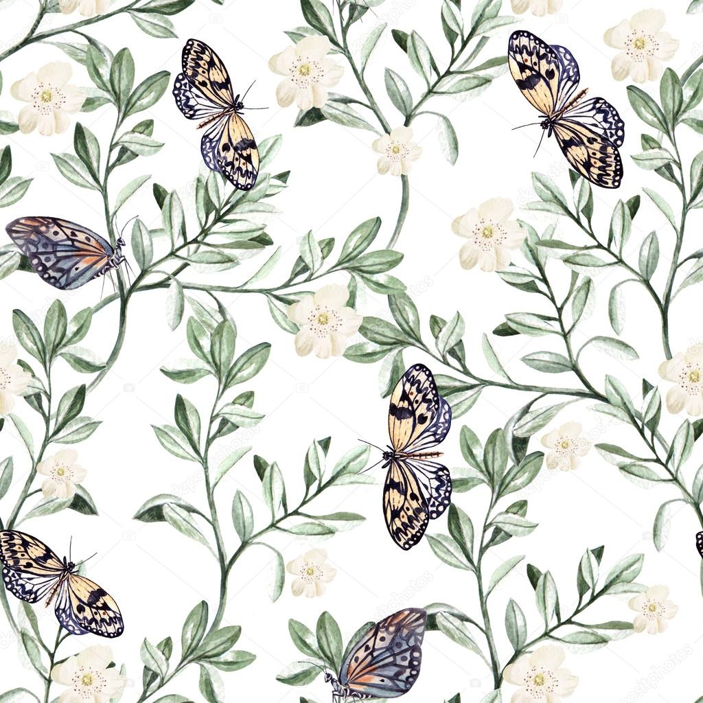 Watercolor pattern with plants and butterflies.