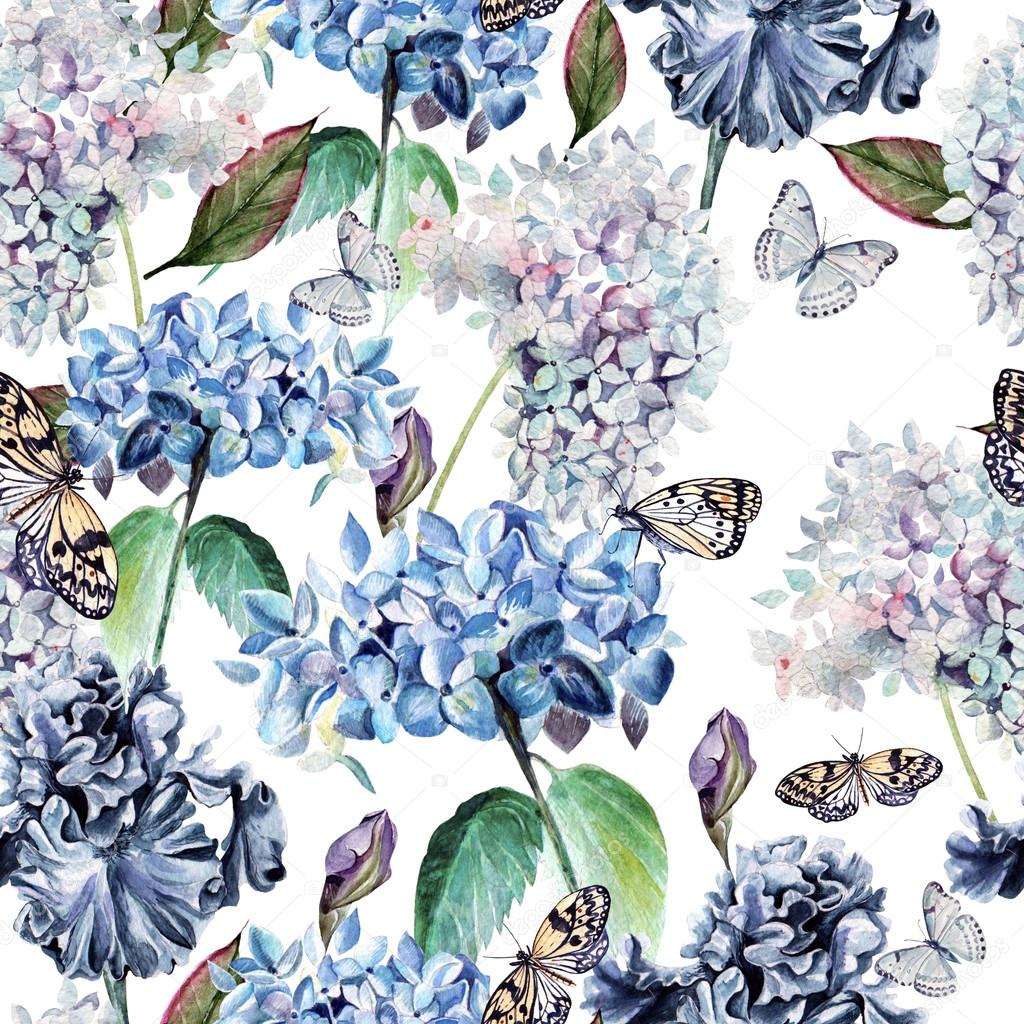 Seamless watercolor pattern with a hydrangea, iris and butterflies.