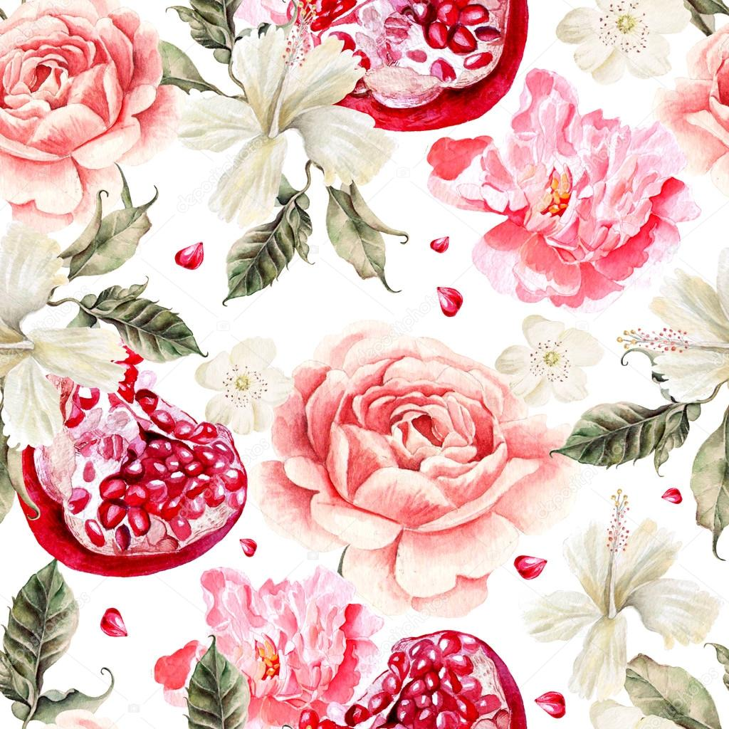 Water color pattern with pomegranates and flowers of peony and hibiscus