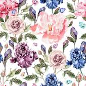 Pattern with watercolor realistic rose, peony and iris.