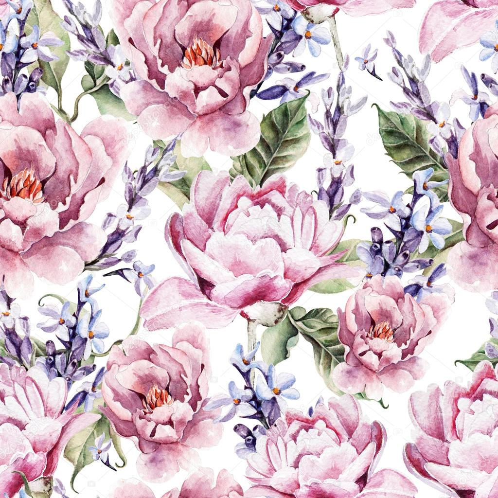 Watercolor seamless pattern with peony flowers and lavender.