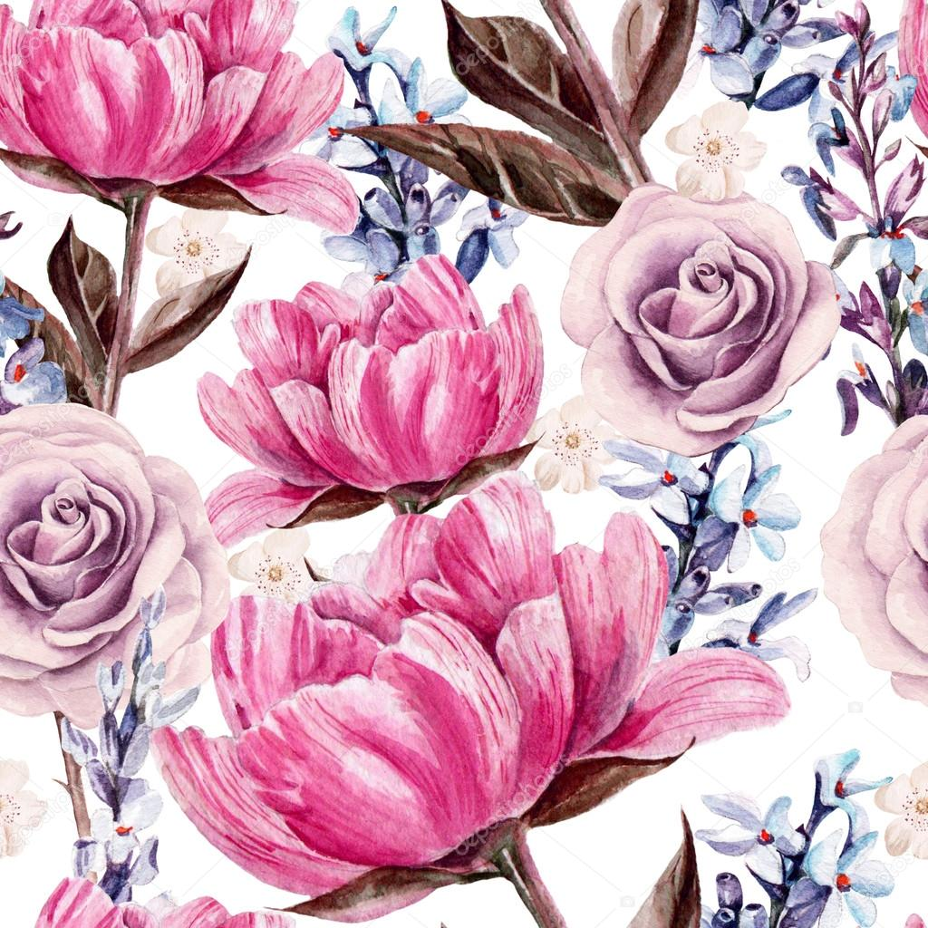 Seamless pattern with watercolor flowers.  Peonies, rose, lavender.