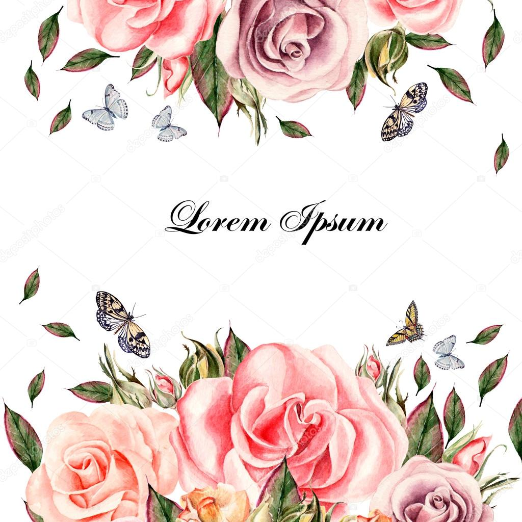 Beautiful watercolor card with rose flowers and leaves. Butterflies and plants.
