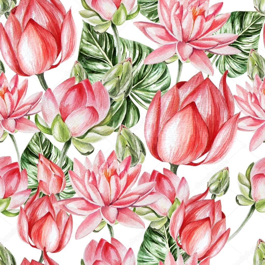 Watercolor pattern with lotus.