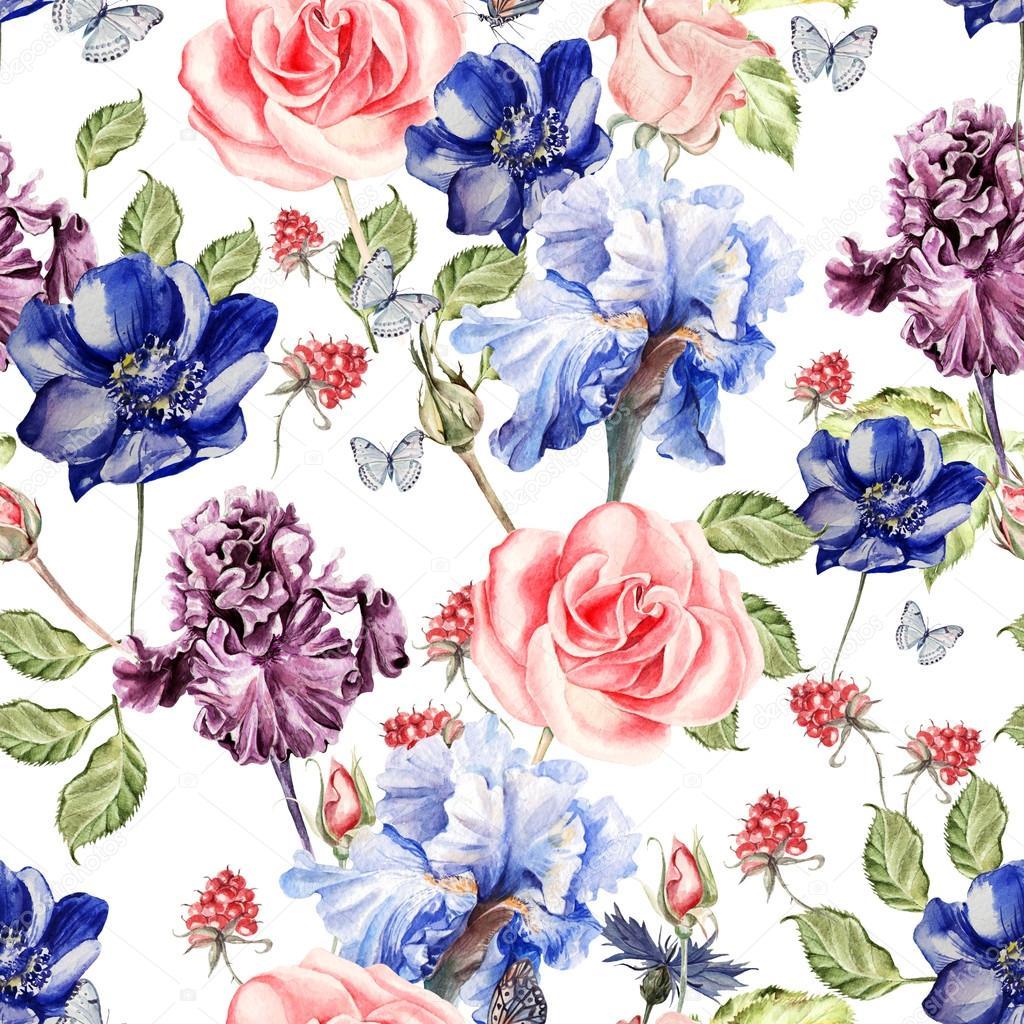 Güzel Renkli Sulu Boya Desen çiçek Iris Anemon çiçeği Gül