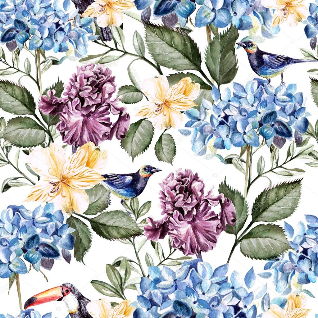 Colorful watercolor pattern with flowers hydrangeas , alstroemeria, irises and birds .