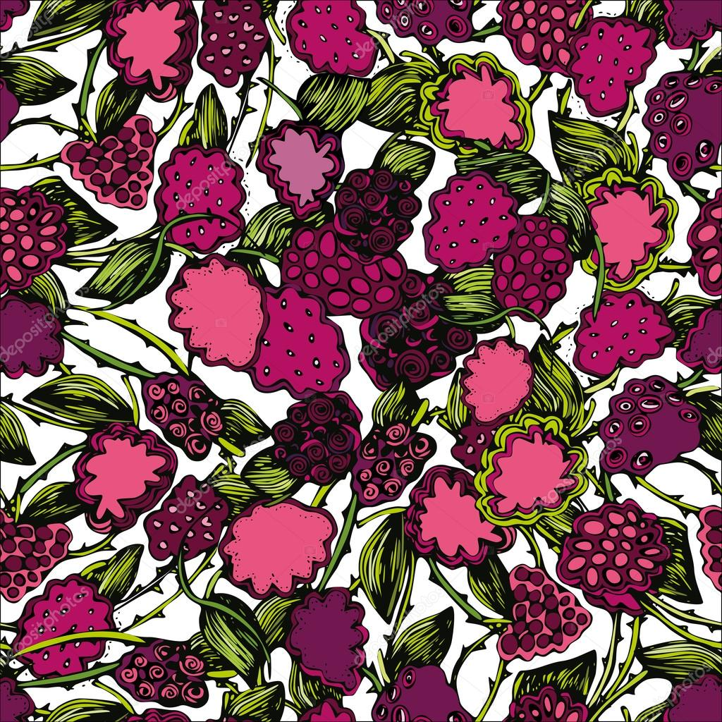 Seamless pattern with an image of blackberry branches