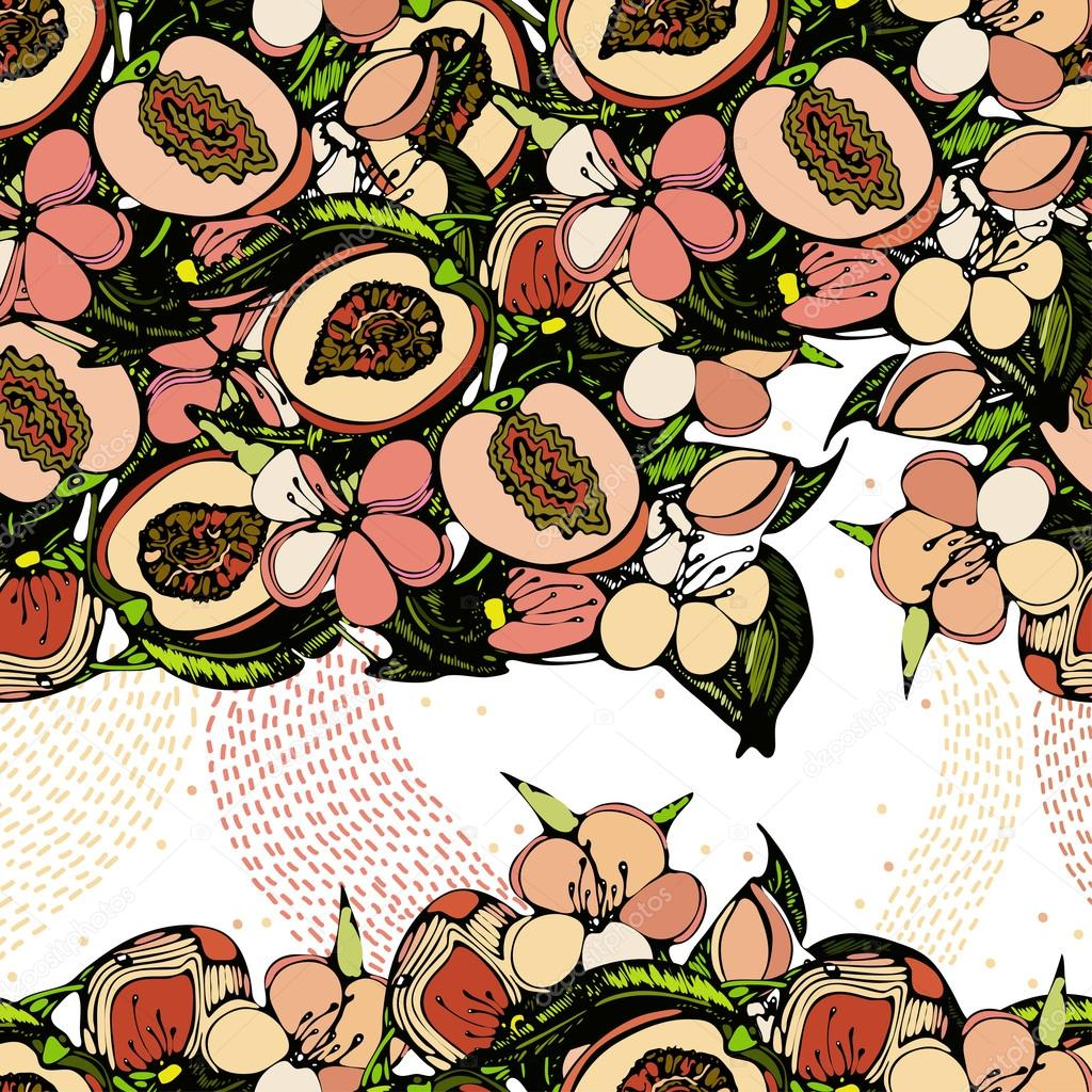 Seamless pattern with an image of branches, flowers and fruits