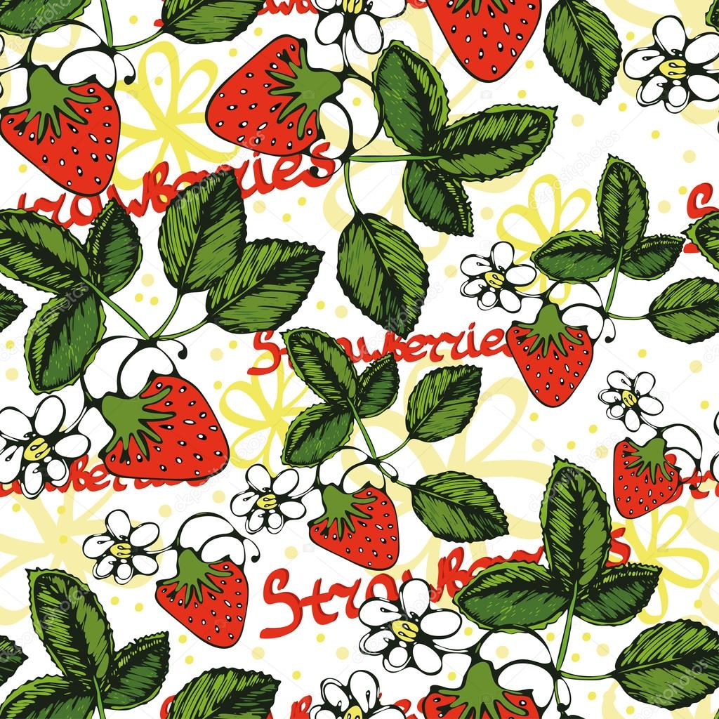 Seamless pattern with an image of strawberry leaves, flowers and  fruits