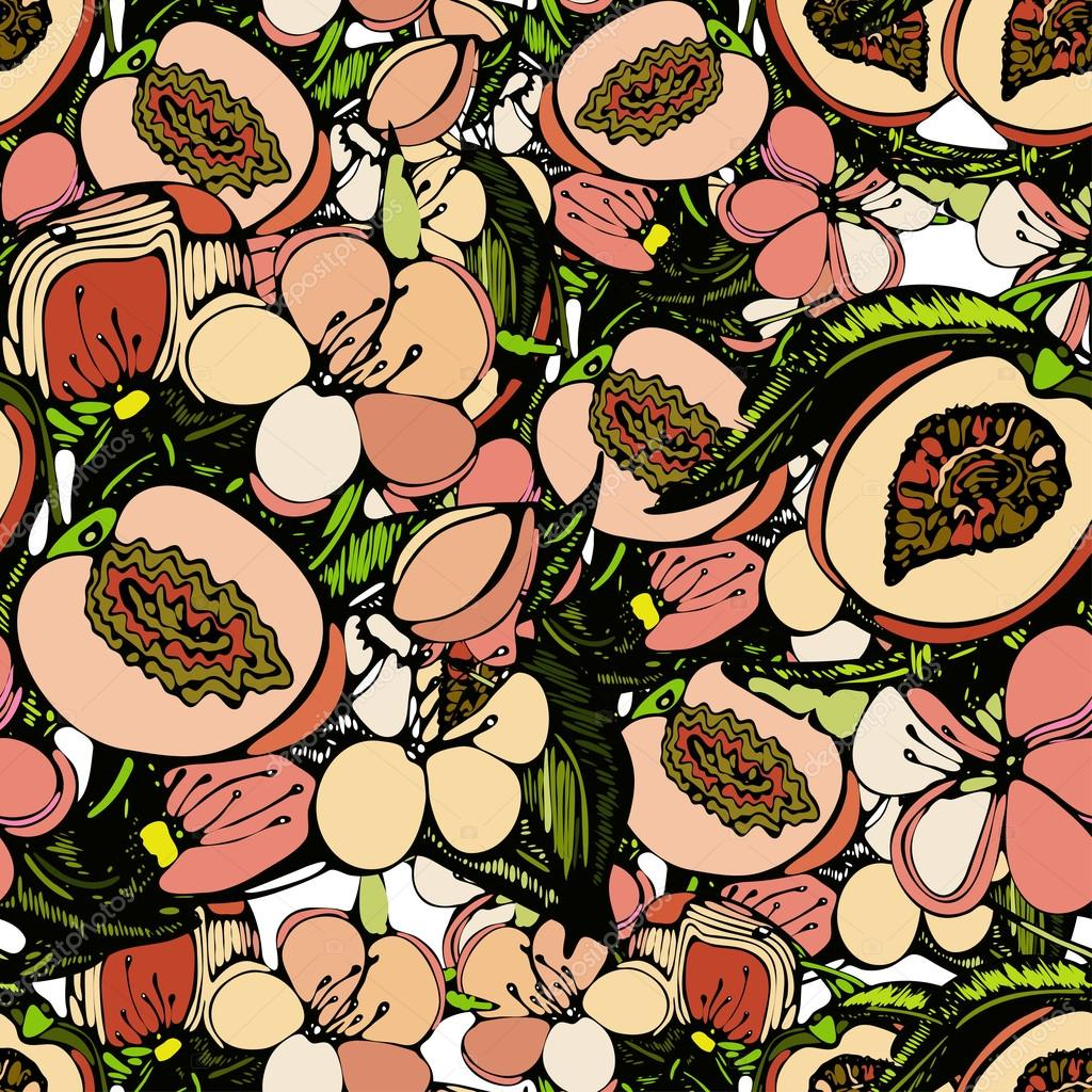 Seamless pattern with an image of branches, flowers and fruits  of peach