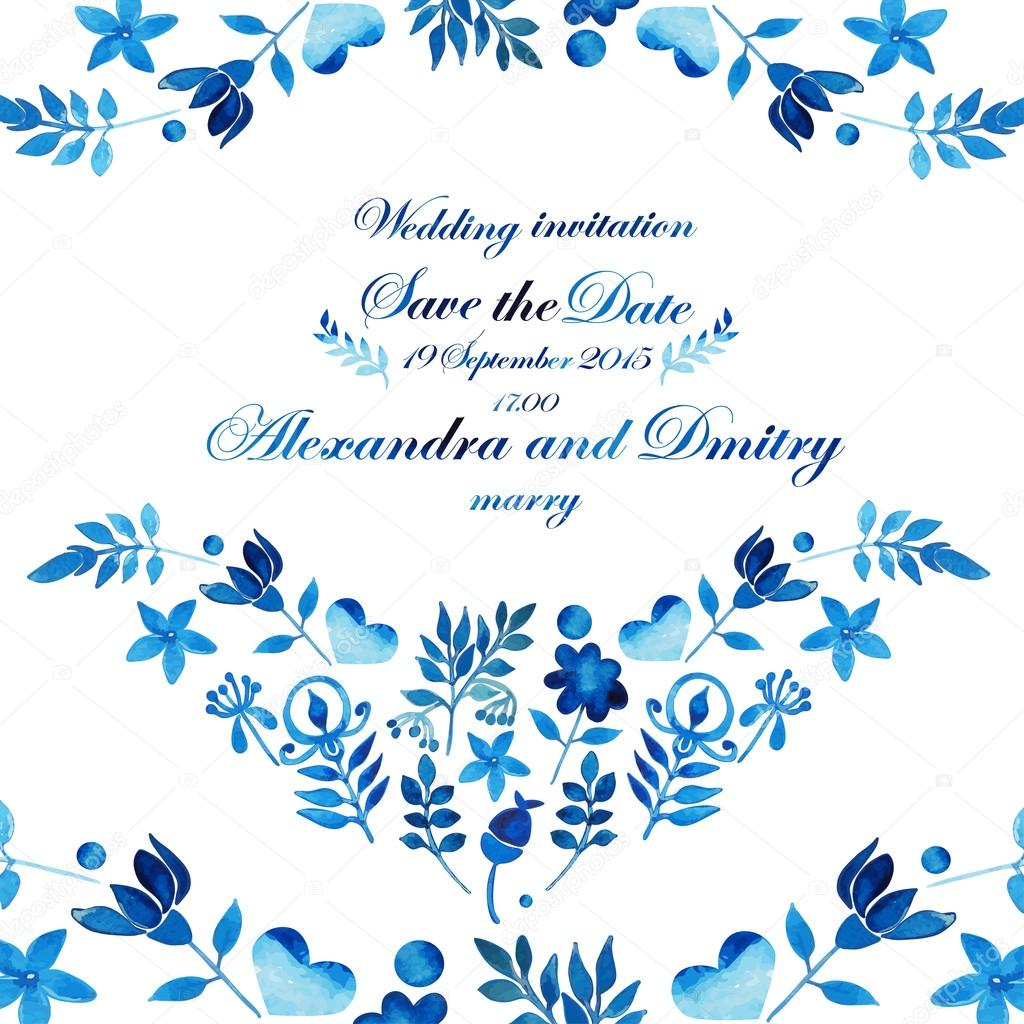 Beautiful Wedding invitation. Save the date. Watercolor.