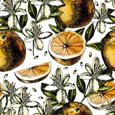 pattern with fruits, flowers and leaves of orange.