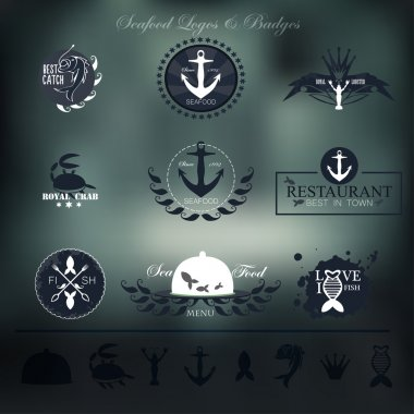 Seafood labels, badges and elements for your design.