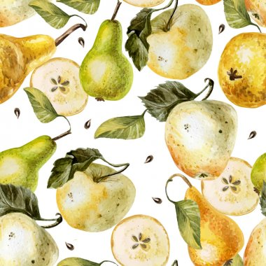 Watercolor pattern with apples and pears.