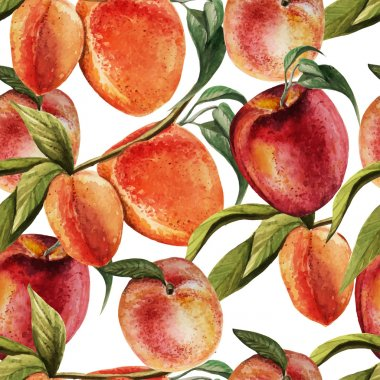Watercolor pattern with  peaches.