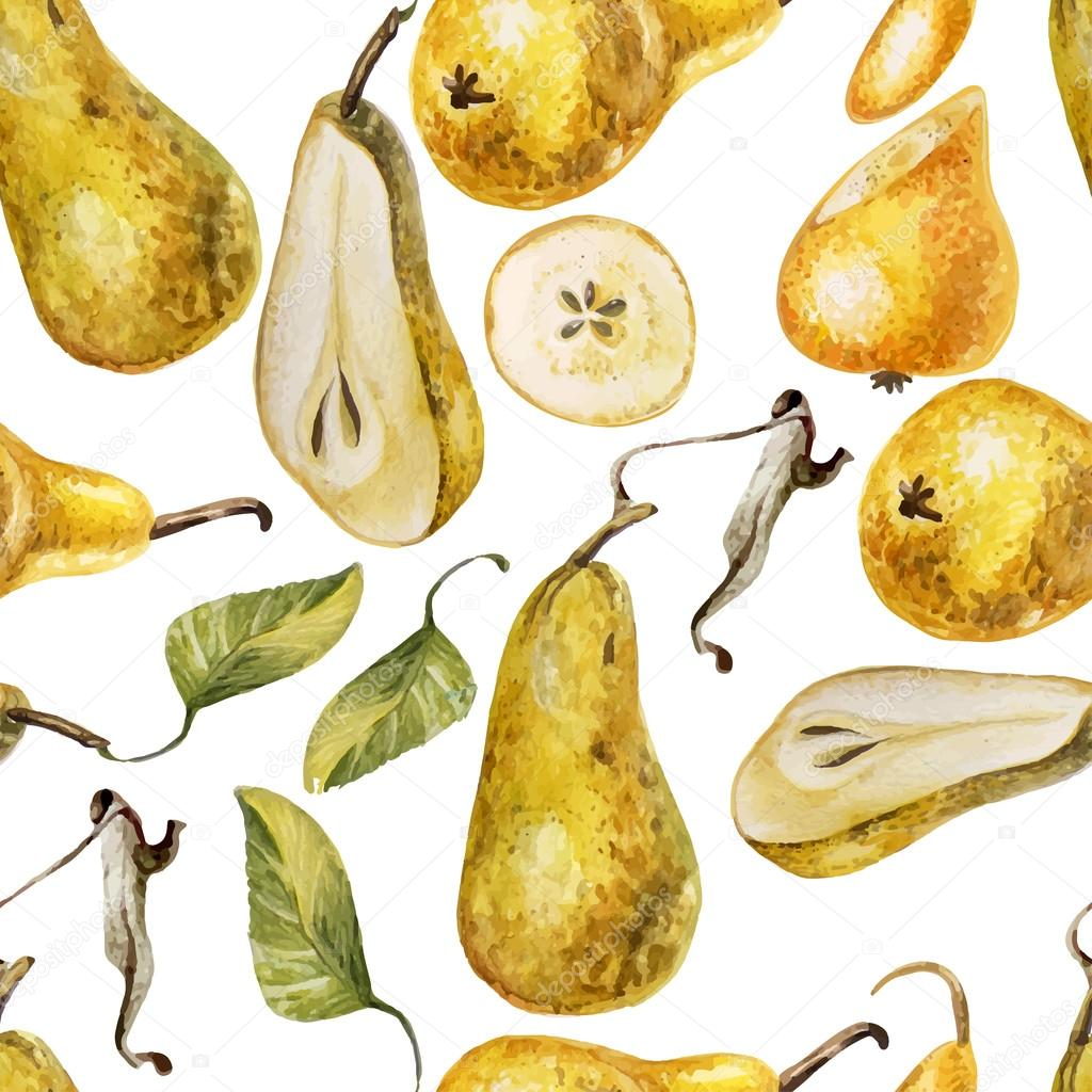 Watercolor Pattern with pears