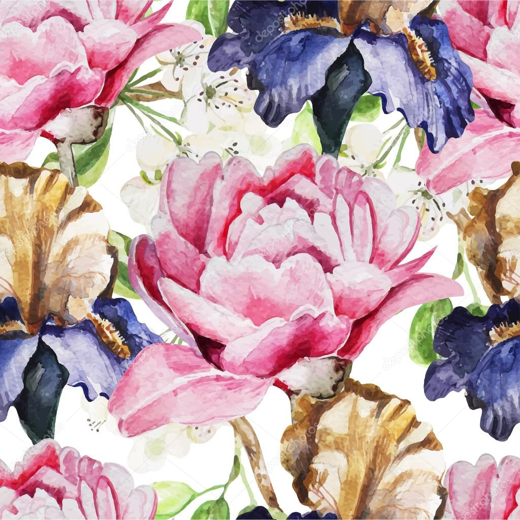 Seamless pattern with watercolor flowers. Iris. Peonies
