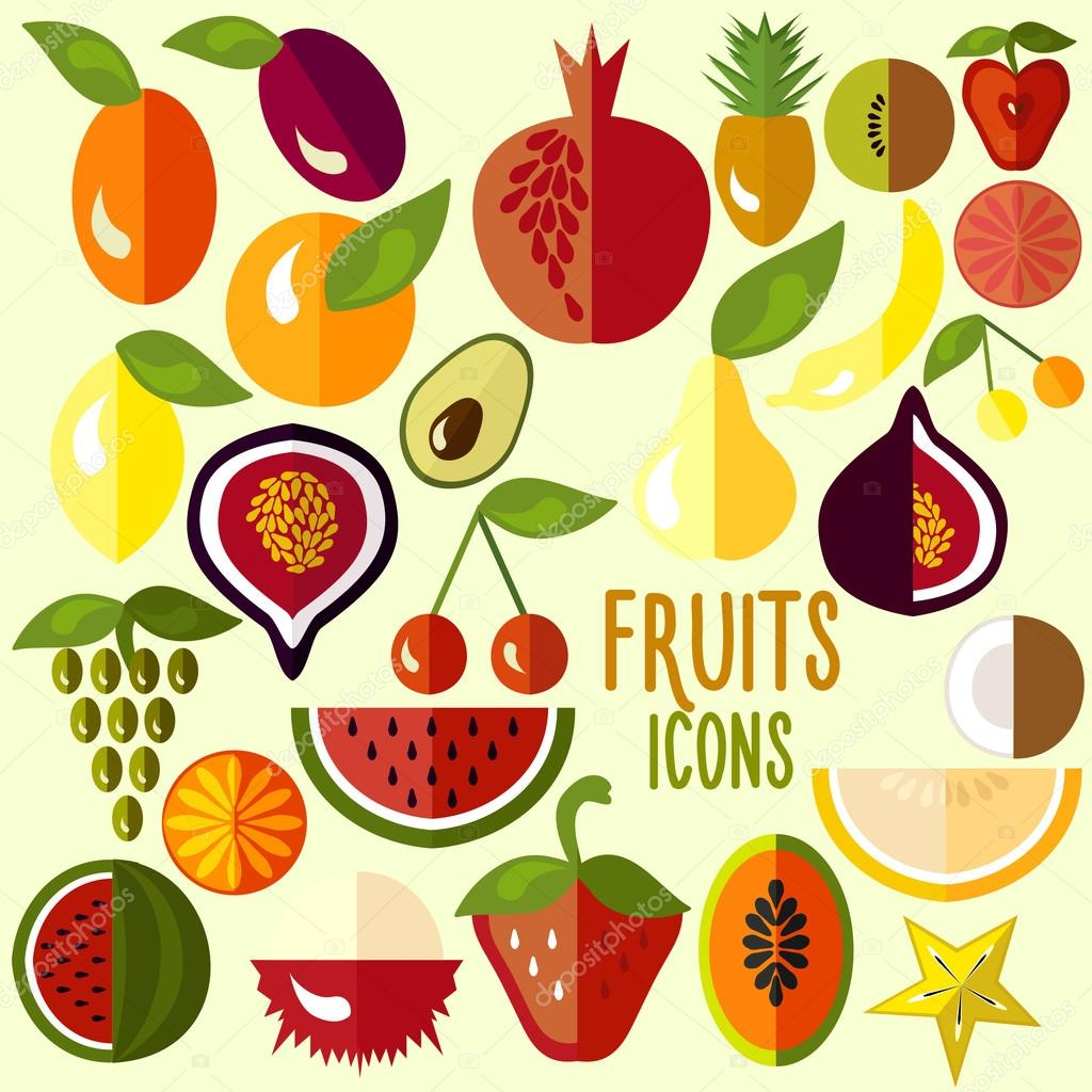 Fruit icons: vector set of flat colorful food signs