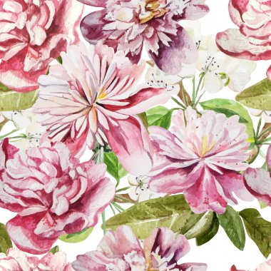 Seamless pattern with watercolor flowers.  Peonies