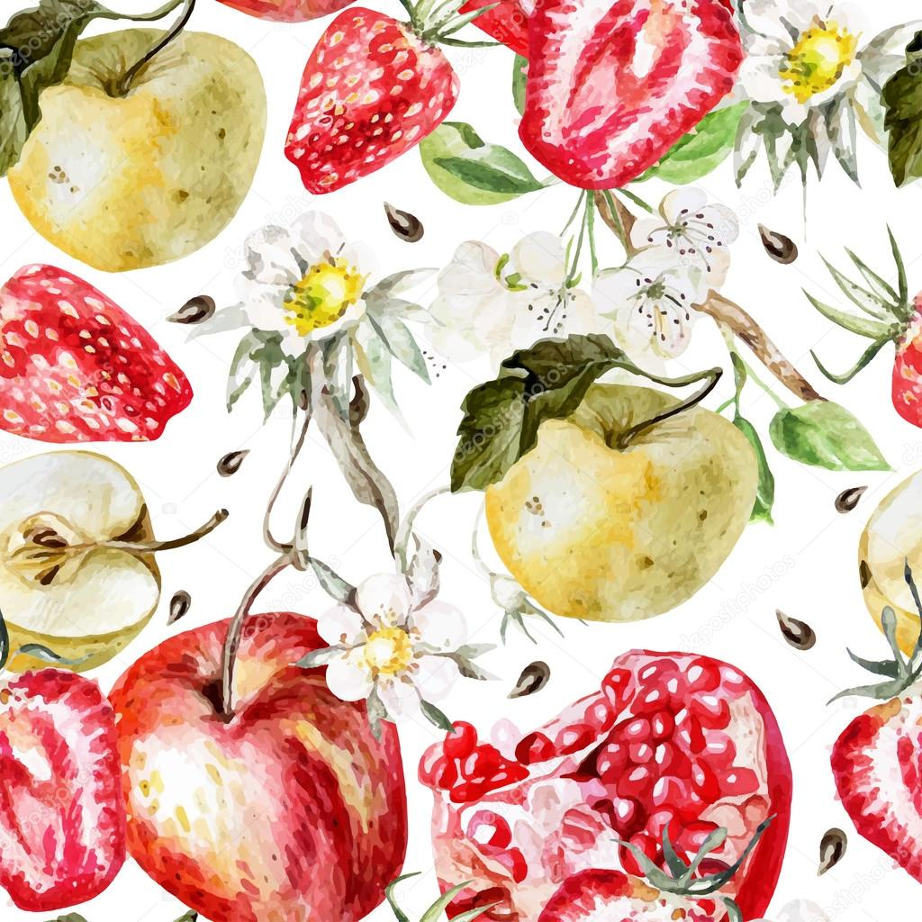 Watercolor Pattern with apples, strawberry, pomegranate and flowers.