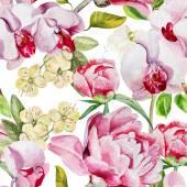 Fényképek Finom bazsarózsa virágok és orchideák, fehér alapon mintás