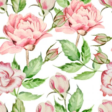 Seamless pattern with watercolor flowers. Rose and peony.