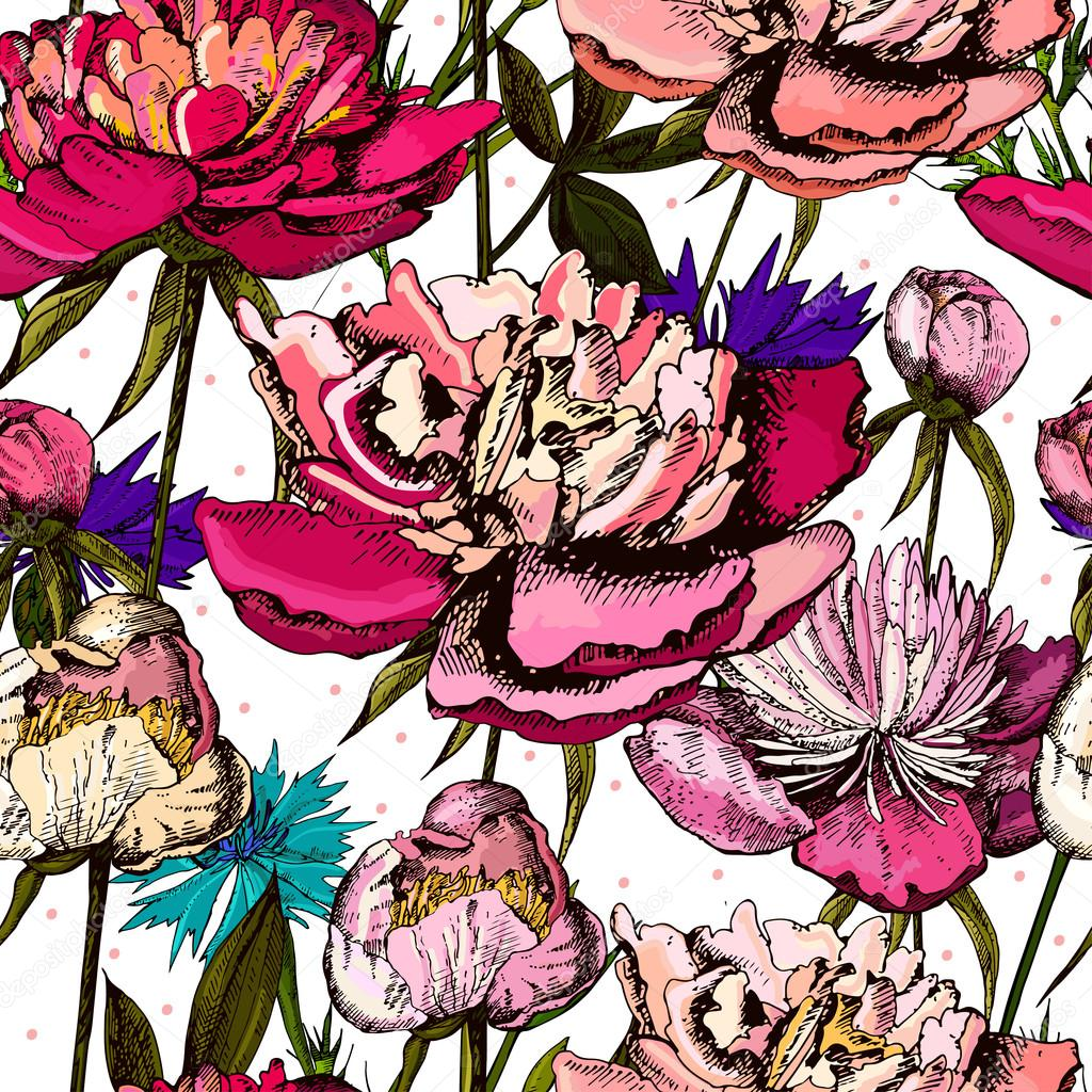 Colorful pattern with bright flowers and leaves of peony and cornflower.
