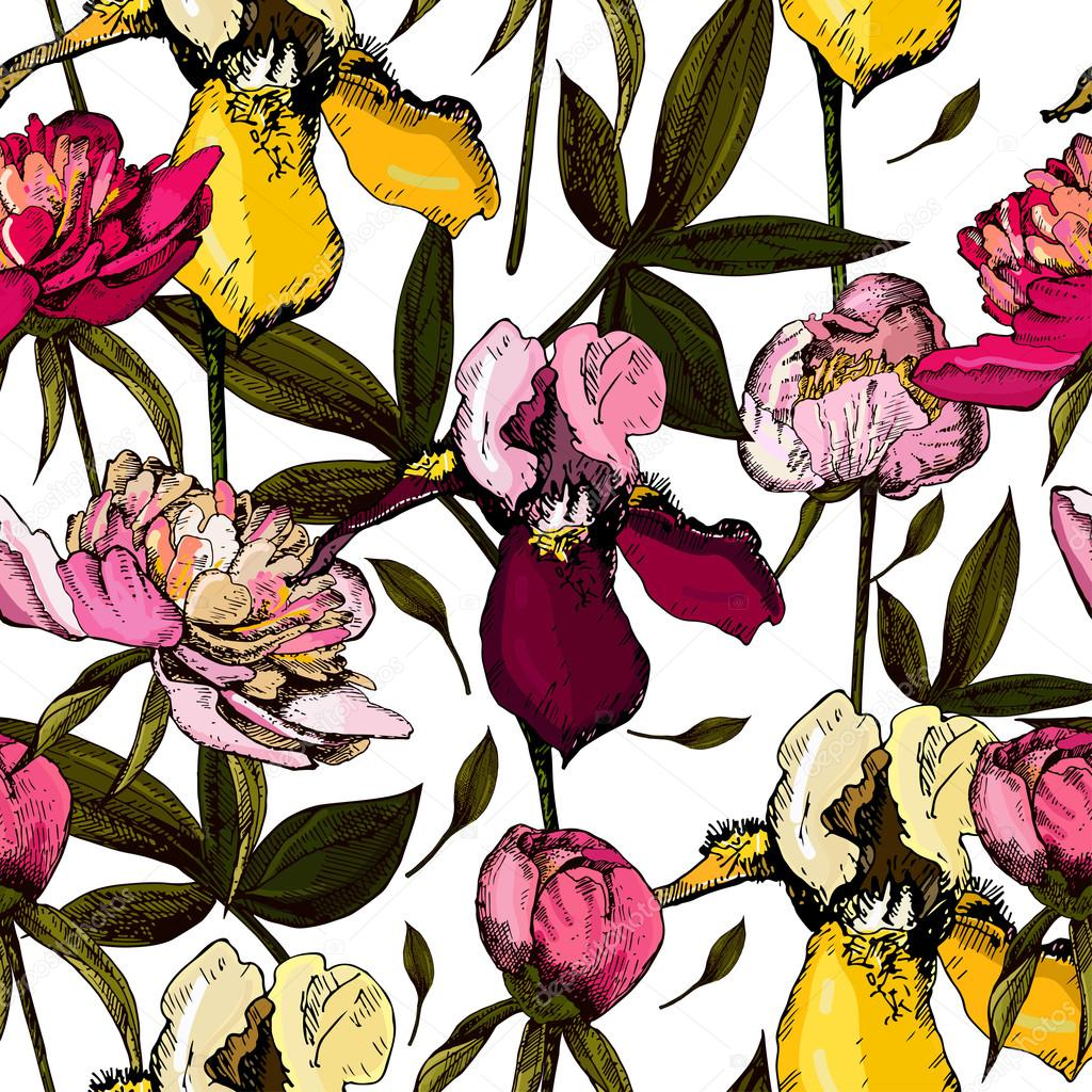 Colorful pattern with bright flowers and leaves of peony and iris, vector illustrations.