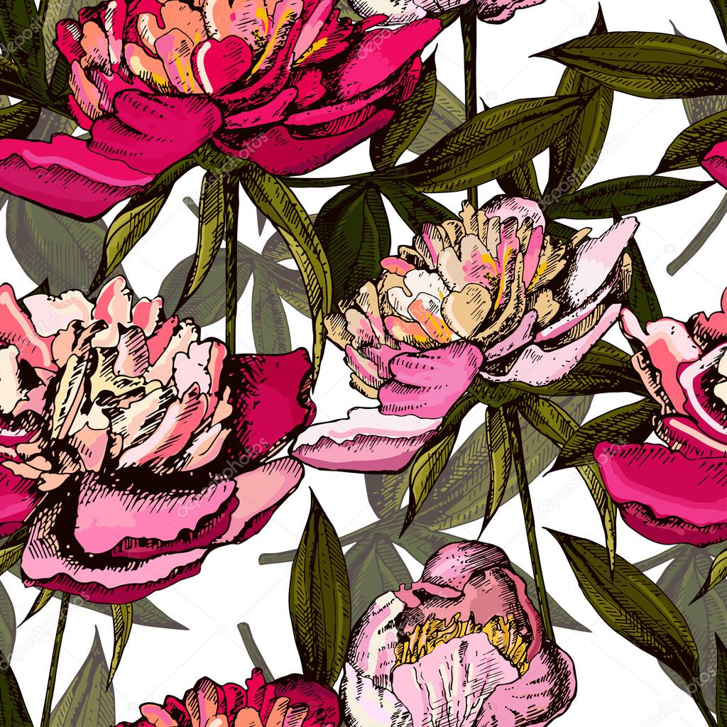 Colorful pattern with bright flowers and leaves of peony, vector illustrations