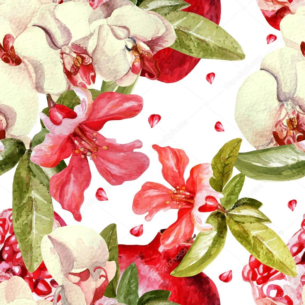 Pattern with pomegranates and orchid flowers.