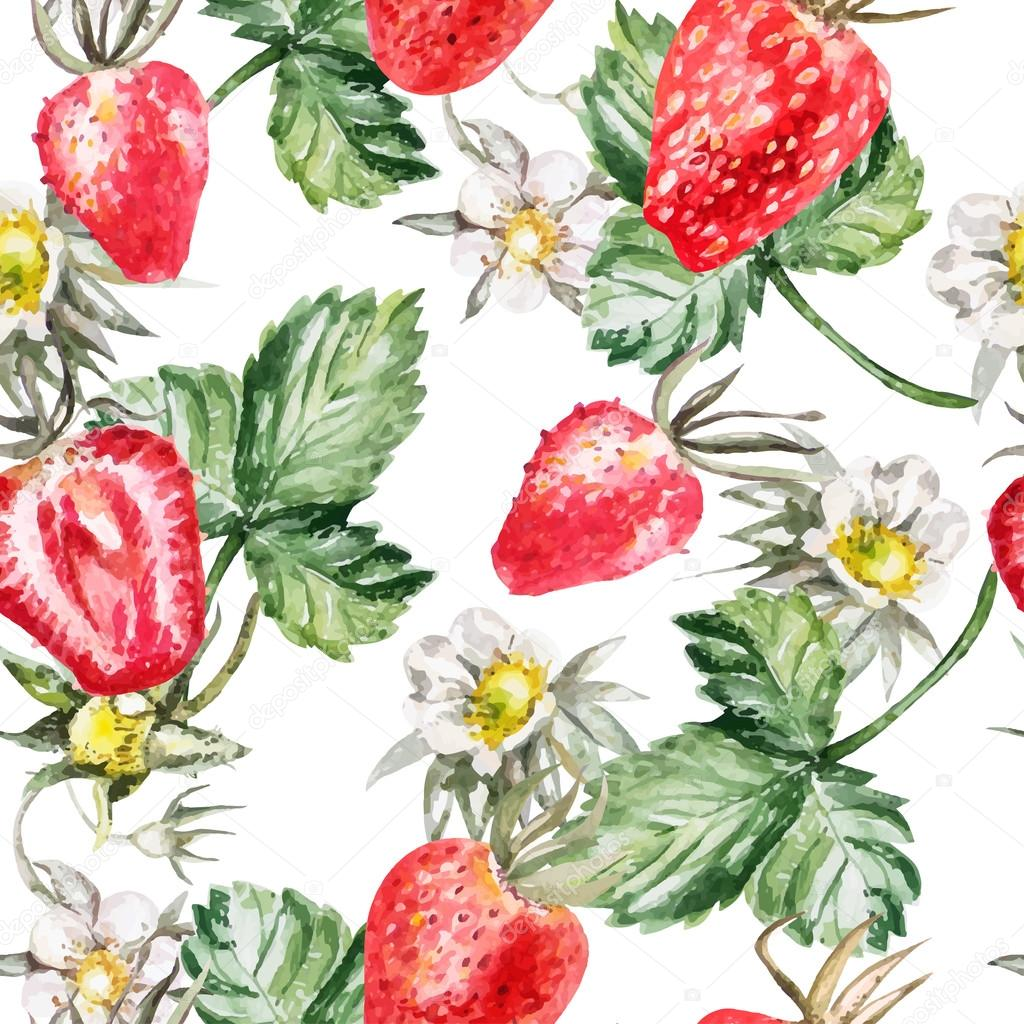 Watercolor Pattern with  ripe strawberries