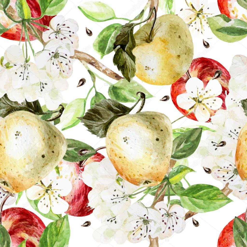 Watercolor Pattern with apples and flowers.