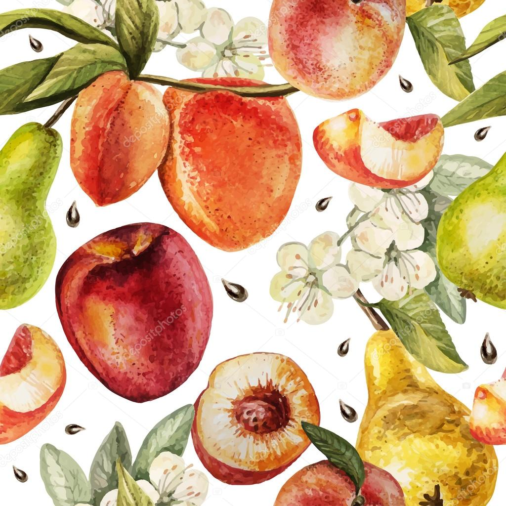 Watercolor Pattern with  pears, peaches and flowers