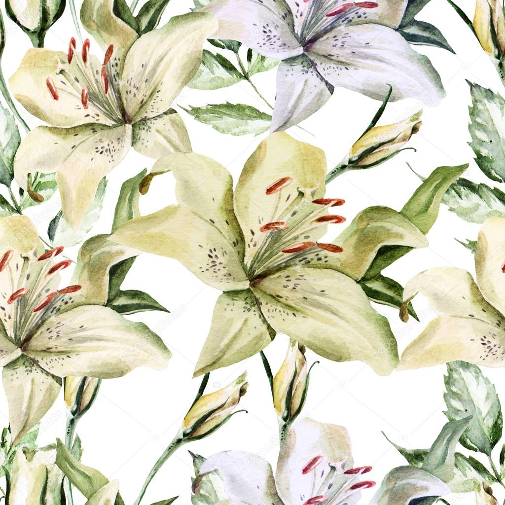 Romantic  pattern with flowers lilies and roses.