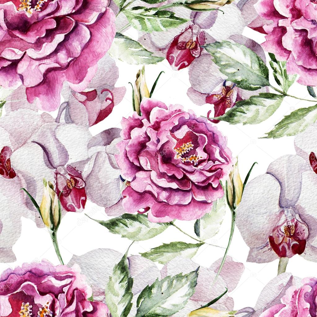 Pattern with delicate peony flowers and orchids