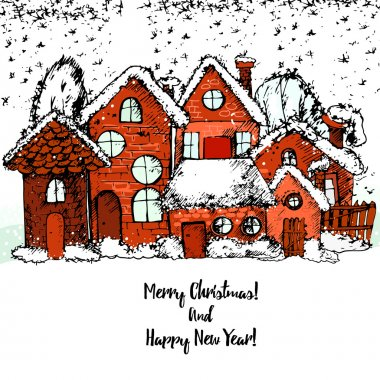 Merry Christmas and happy new year, hand drawn Winter town.