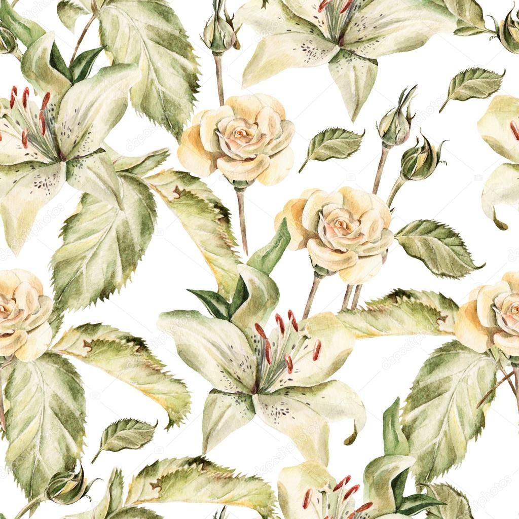 Water color pattern with flowers lilies, roses, buds and petals.