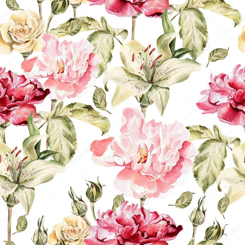 Watercolor pattern with flowers lilies, peonies and roses, buds and petals.
