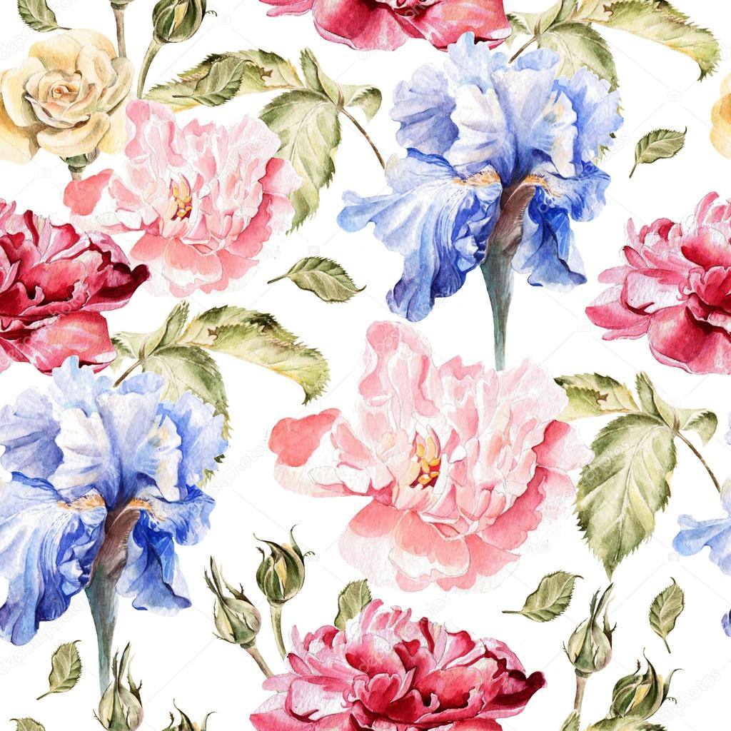 Watercolor pattern with flowers  iris, peonies and roses, buds and petals.