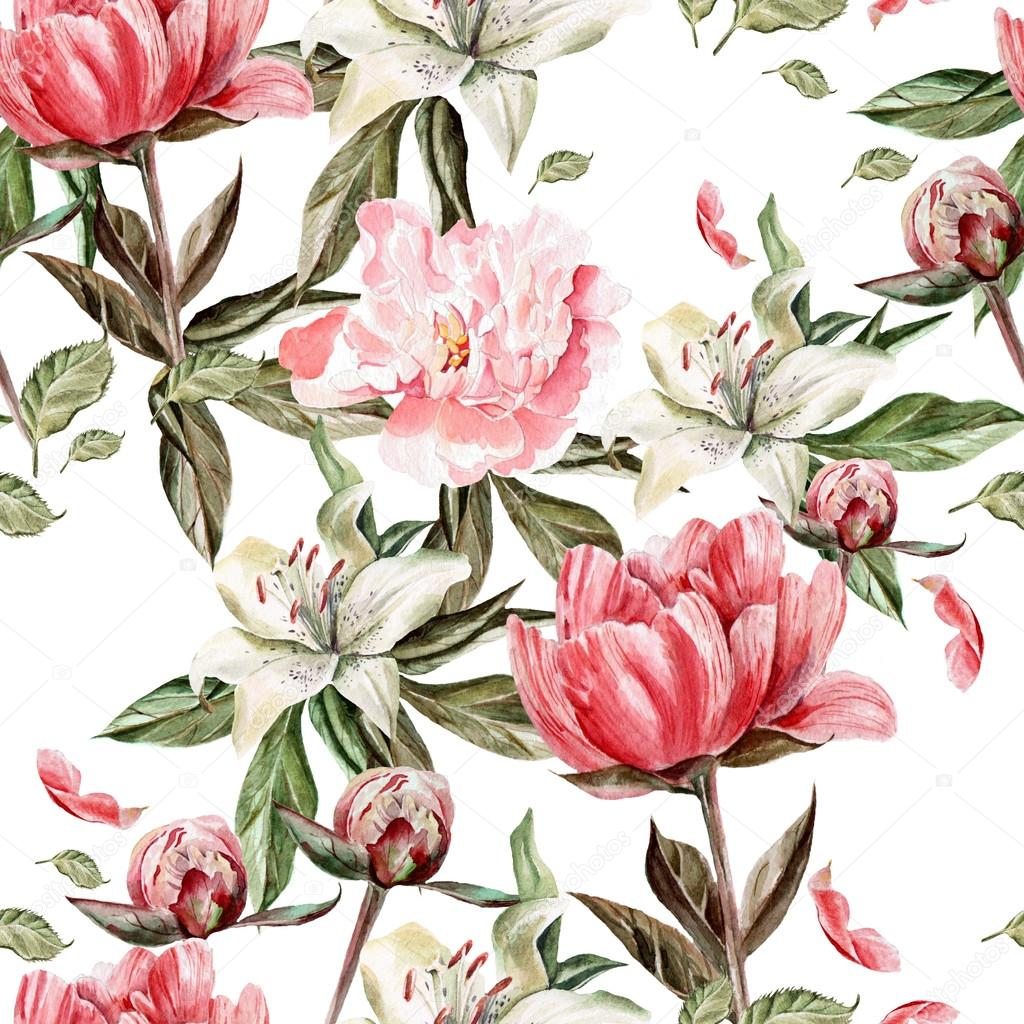 Watercolor pattern with flowers, peonies and lilies, buds and petals.